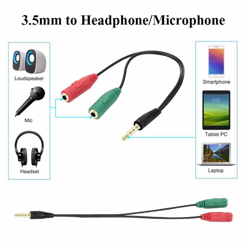 Male 3.5 Mm untuk Wanita 2X3.5 Mm Satu Menit Dua Audio Line Mikrofon Adaptor Sambungan Kabel Converter untuk mikrofon Line