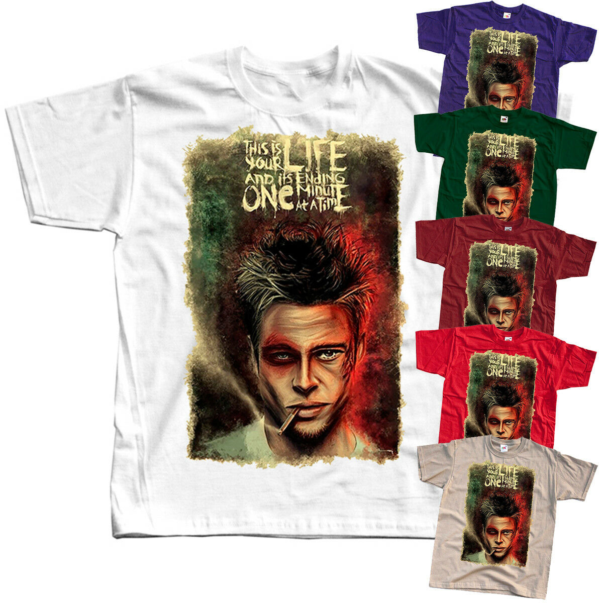 Fight Club V7, D.Fincher, Movie Poster 1999, T-Shirt (WHITE) All Sizes S To 3XL Retro Leisure Breathable Tee Shirt