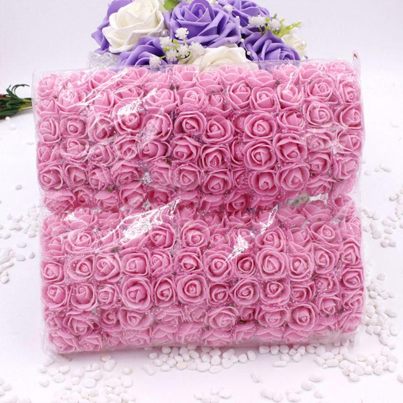 144Pcs/Pack 2.5cm Mini PE Foam Gauze Artificial Rose Flower Head DIY Craft Wedding Bouquets Bridal Shower Party Home Decoration