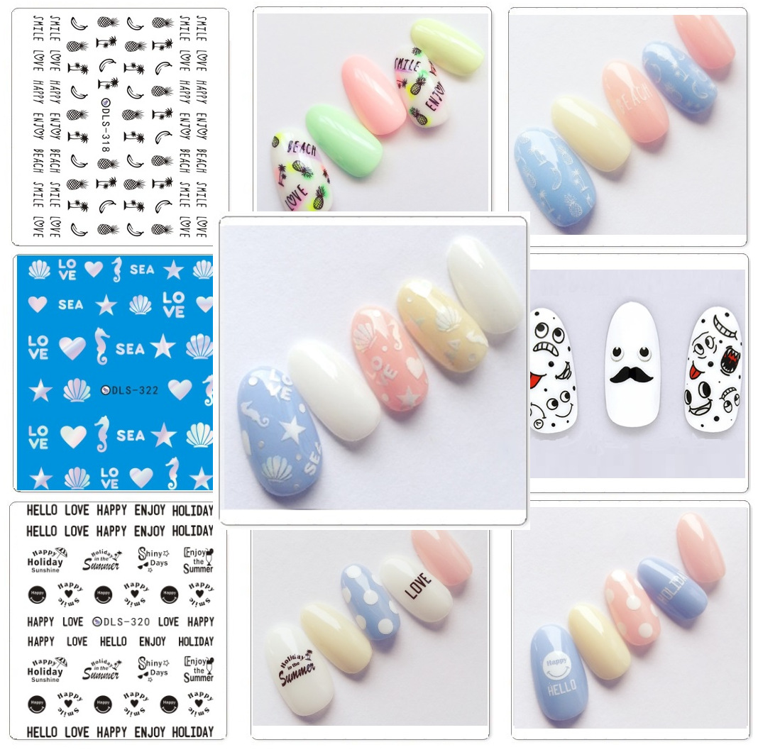 Top Form Brand Manicure Watermarking Adhesive Paper Flower Stickers Nail Sticker South Korea Nail Sticker DLS318-323