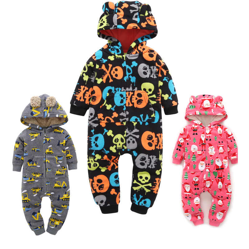 2020 Fall Winter Warm Infant Baby Rompers Coral Fleece Animal Overall Baby Boy Gril Halloween Xmas Costume Clothes Baby jumpsuit