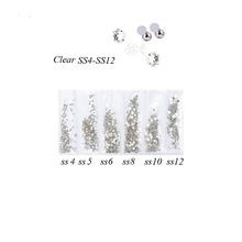 Hot Sell Nail Art Rhinestone Crystal S SS3-SS12 Mix Sizes Glass Nails Rhinestones For 3D Decora