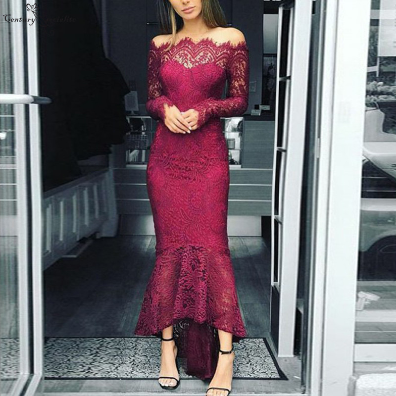 Hi-Lo Mermaid   Prom     Dresses   Long Sleeves Off Shoulder Zipper Back Floor Length 2019 Evening Gowns Party   Dresses   Vestidos De Festa