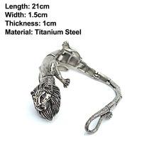 Outdoor Domineering EDC Titanium Steel Lion Bracelet Multi function Self Defense Tool Men's Punk Locomotive Personality
