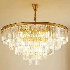 Image 3 - Jmmxiuz Современная круглая Золотая люстра, хрустальное освещение для ресторана, американская Хрустальная люстра