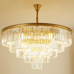 Image 3 - jmmxiuz Modern round golden chandelier crystal lighting restaurant American crystal lamp chandelier