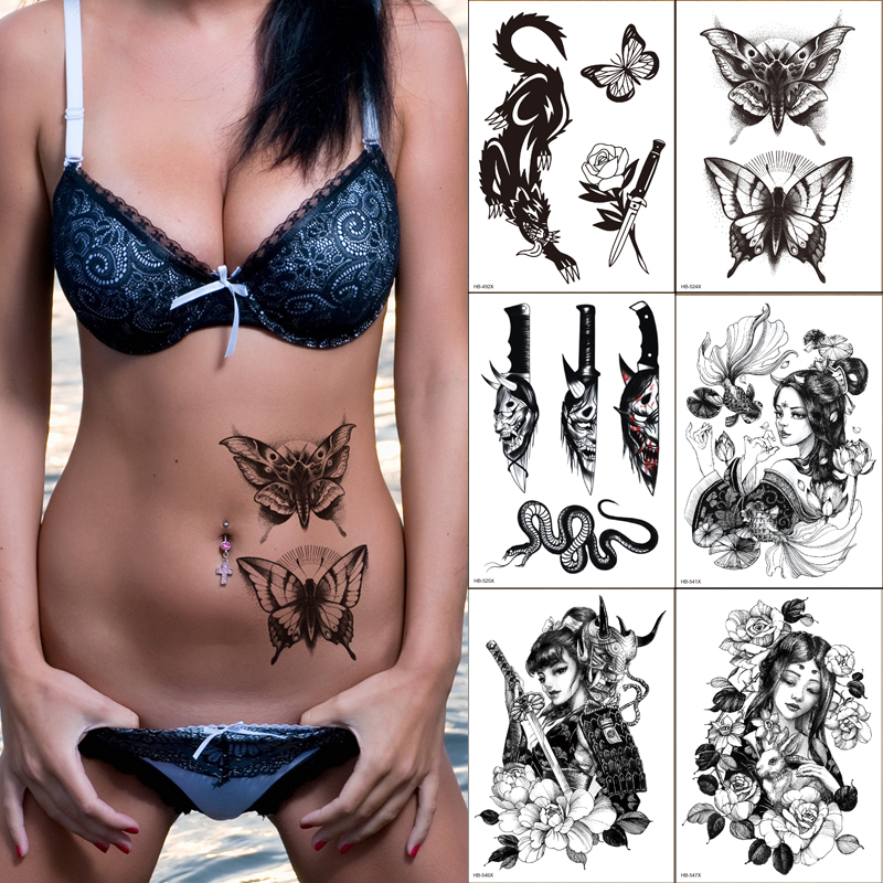 6pcs Black Butterfly Totem Sketch Tattoos Stickers Women Body Waist Arm Art Bracelet Tattoos Temporary Girls Tatoos Rose Chains