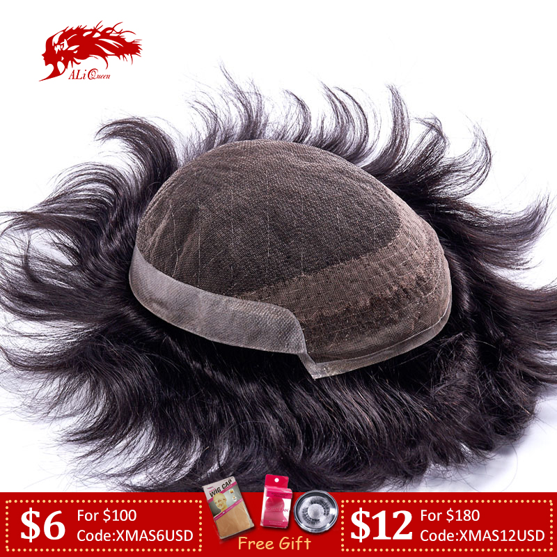 Ali Queen Hair French Lace With PU Mens Toupee Hair Replacement Systems Indian Remy Hair Toupee Men HairPiece Wig