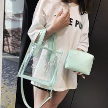 Autumn And Winter 9 Transparent Bag Women's New Style 2019 Gel Bag Plastic of Shoulder Bag Versitile Fashion Simple Toth Women's(China)