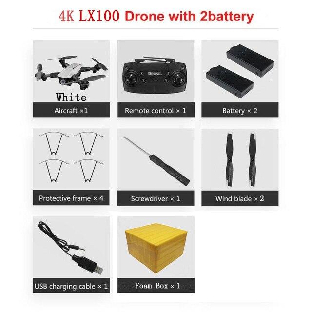 LAUMOX LX100 Радиоуправляемый Дрон с 4 K/1080 P HD камерой оптическое позиционирование потока wifi FPV складной Квадрокоптер вертолет дроны следуем за мной - Цвет: 4K 2B FB W