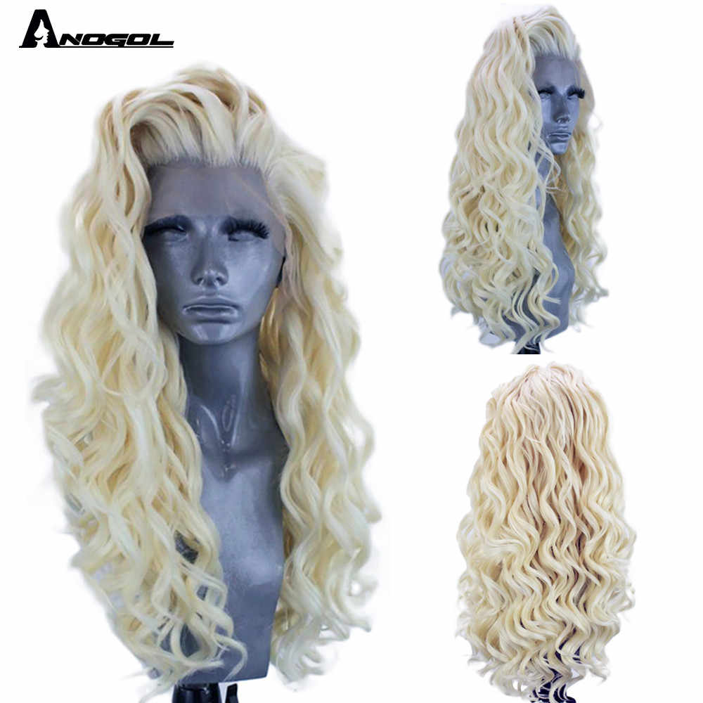 Anogol Platinum Blonde Synthetic Lace Front Wig Free Part Long Afro Kinky Curly Wig High Temperature Fiber For Women Synthetic None Lace Wigs Aliexpress