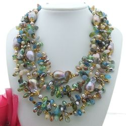 YYGEM 4 strands Freshwater Cultured Purple Keshi Pearl Multi Color top-drilled Crystal Necklace  18