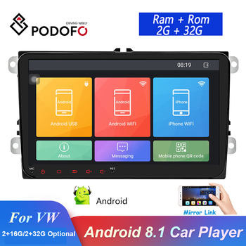 Podofo 9'' Car Radio Android 8.1 2 Din GPS Autoradio Stereo Multimedia Player For Volkswagen/Skoda/Passat/Golf/Polo/Seat/Jetta image