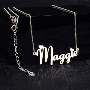 Image 4 - RainMarch Personalisierte Namenecklace 925 Silber Frauen Halsketten & Anhänger Customiz Halskette Geburtstag Geschenk Dropshipping