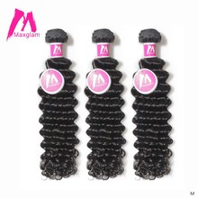 Human Hair Weave Bundles Deep Wave Brazilian Short Natural Color Remy Hair Extension Long for Black Women 3 Bundles 28 inch