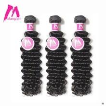 Insan saçı örgüsü demetleri derin dalga brezilyalı kısa doğal renk Remy saç uzatma uzun siyah kadınlar için 3 demetleri 28 inç
