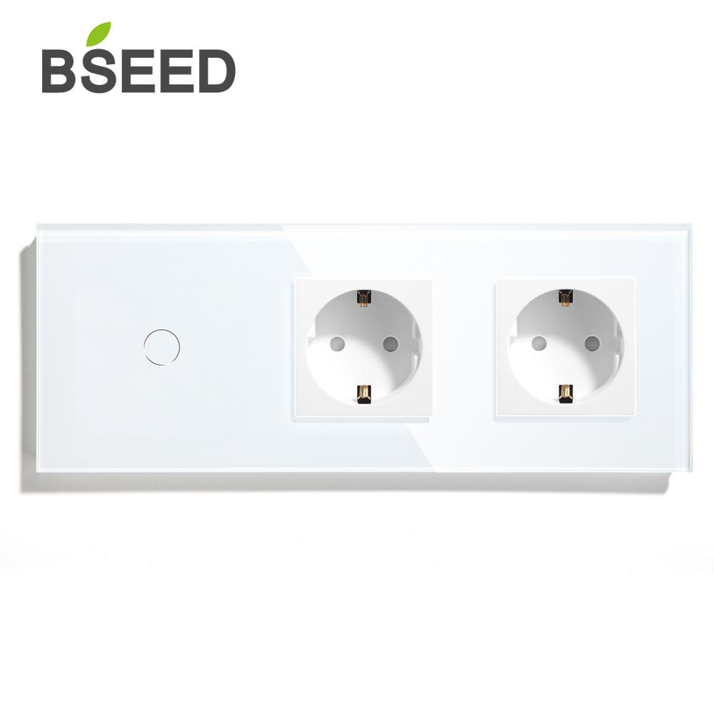 BSEED EU Standard 1 Gang 2Gang 3Gang 1 Way 2 Way Touch Switch With Double Wall Socket Black White Gold Crystal Glass Panel