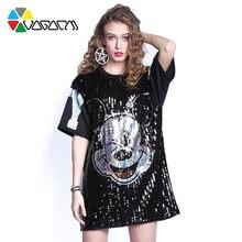Женская футболка с блестками черная свободная вечерние Клубные