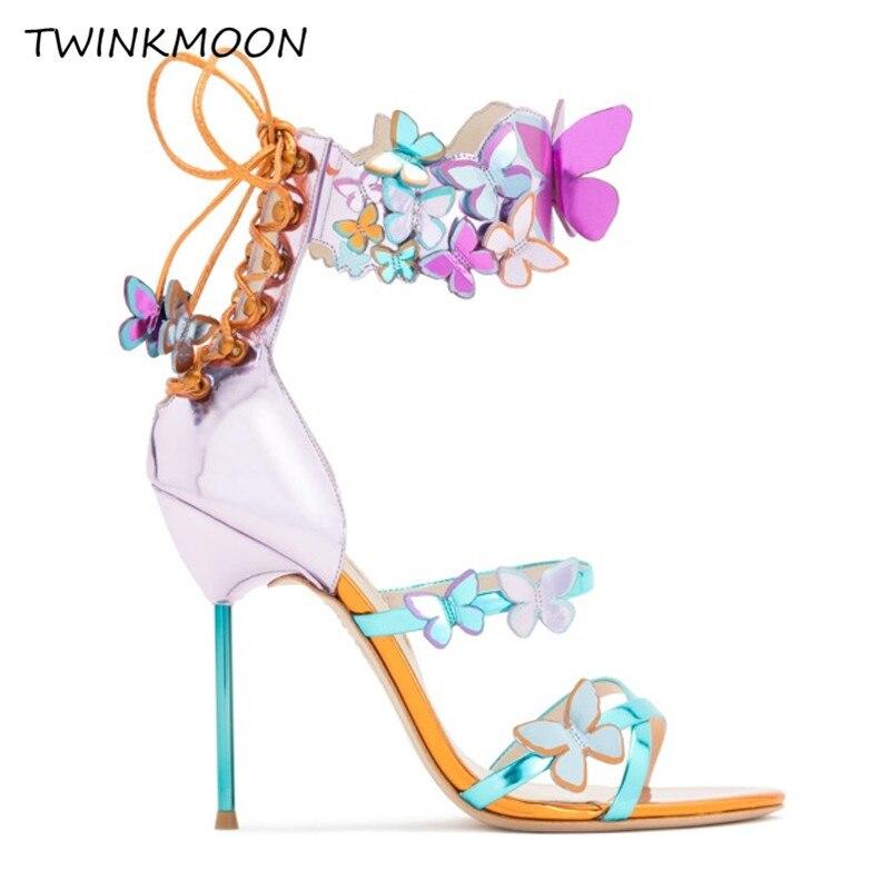 Nouveau miroir rose papillon sandales bottes métallisé Stiletto gladiateur talons hauts chaussures d'été à lacets métal talon Sandalias mujer