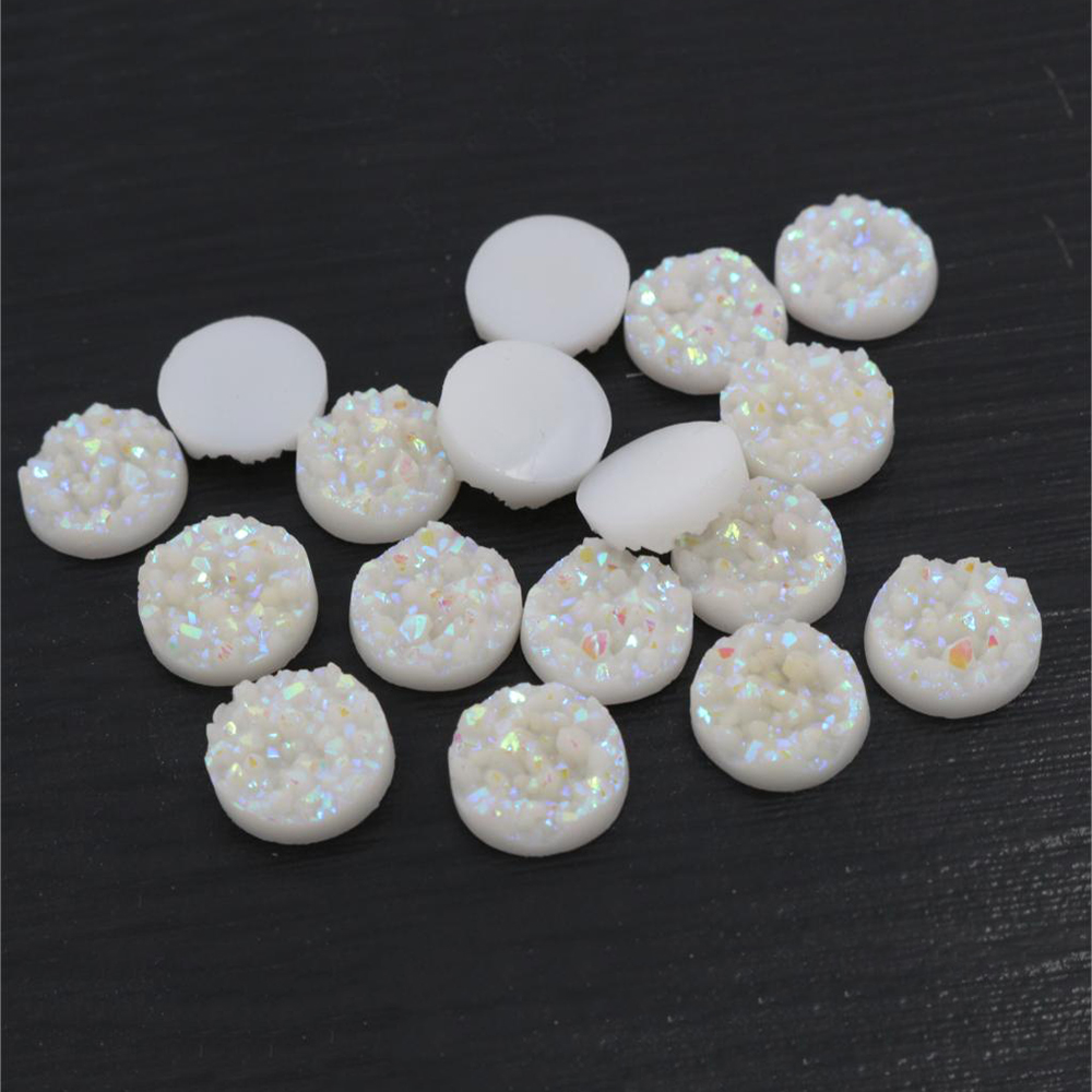 Fashion 40pcs 8mm 10mm 12mm Pure White AB Colors Natural Ore Style Flat Back Resin Cabochons For Bracelet Earrings Accessories