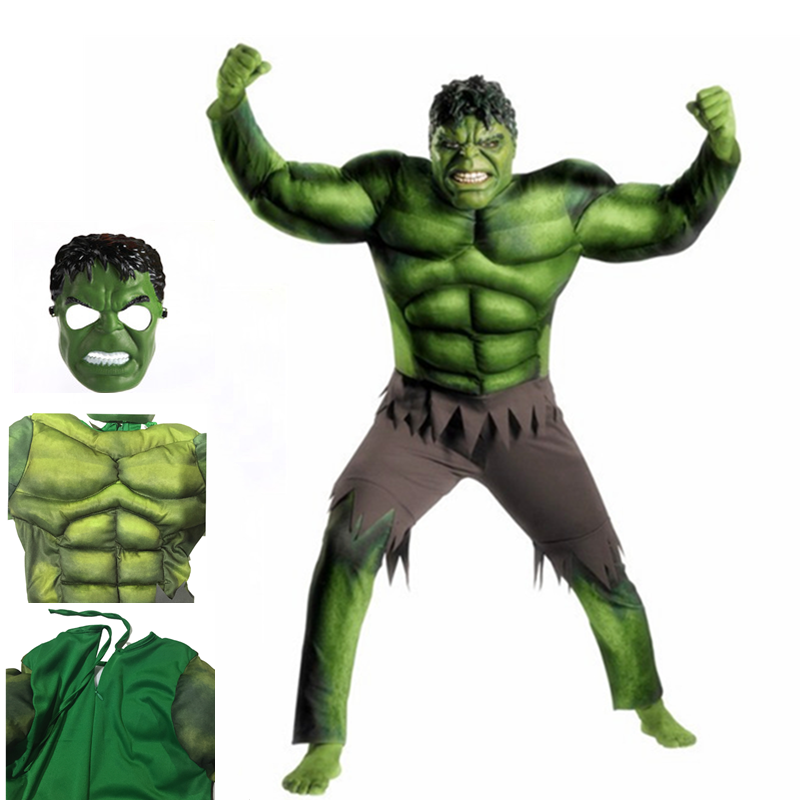 Superhero Hulk Muscle Costume Kids Set Mask Stage Performance Props Costume Kids Dress Up Cosplay Party Halloween Costume