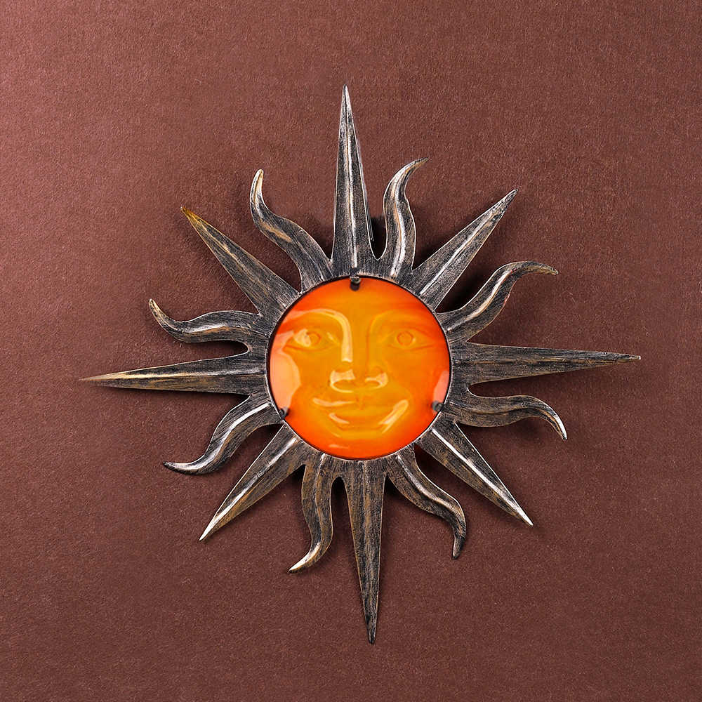 Liffy Gift Metal Sun Wall Decoration with Glass for Garden Decoration Outdoor Ornaments and Yard Decoration Miniatures Statues