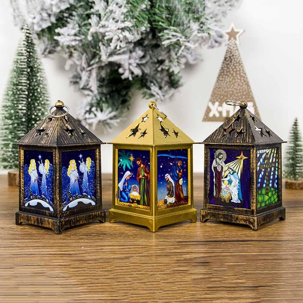 Christmas Decoration Pendant Painted Religious Christmas Lights Hollow Starry Christmas Light Decorations