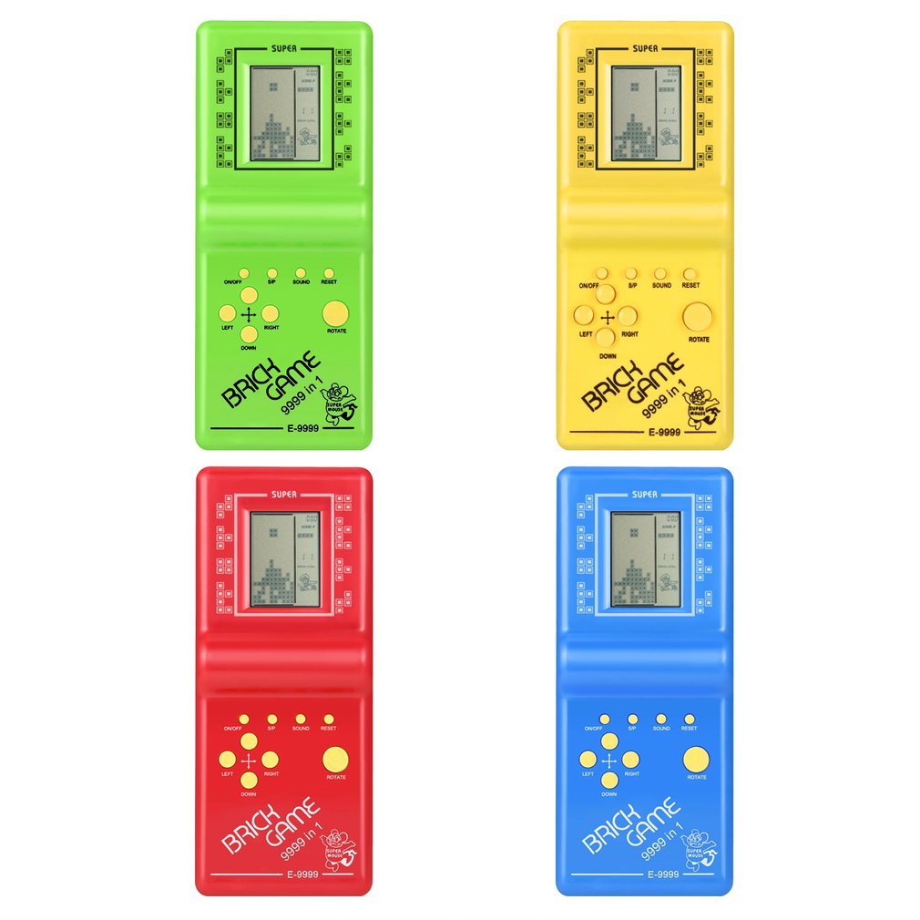Classic Tetris Hand Held LCD Electronic Game Toys Fun Brick Game Riddle Handheld Game Console Random Color