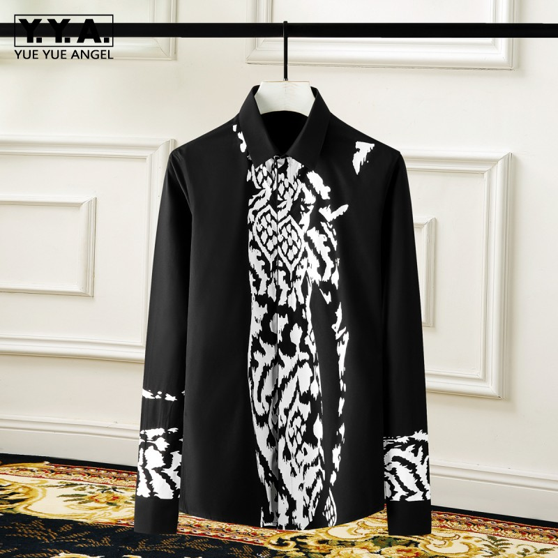 Fashion Mens Long Sleeve Leopard Printed Shirts Plus Size Wedding Party Dress Shirt 2021 New Business Man Casual Tops Camisas
