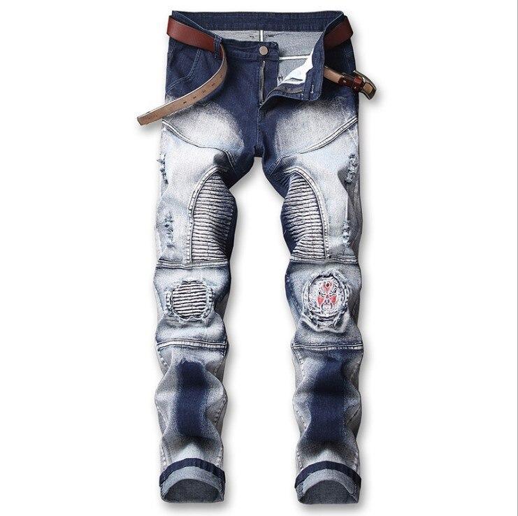 Men's Stretch Slim Pleated Locomotive Jeans Small Straight Barrel White Locomotive Hole Men's Pants Ripped Denim Jeans For Men