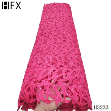 Cord Lace-Fabric Guipure Sequins HFX African Pink Nigerian Water-Soluble with for Party-Dress