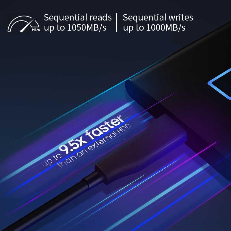 Samsung T7 Sentuh SSD 2TB 1TB 500GB USB3.2 Pengenalan Sidik Jari Membuka Tipe-C Portable Antarmuka Padat state Drive NVME