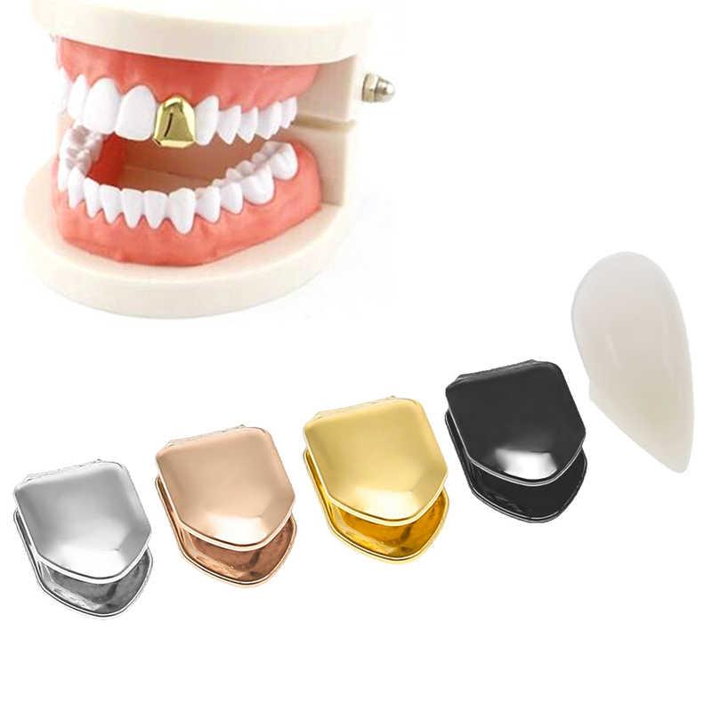 1PC Berlapis Emas Hip Hop Gigi Gigi Tunggal Kecil Topi Berlapis Emas Bawah Grill False Teeth Pemutih Gigi Cap untuk Cosplay