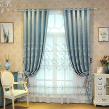 European Style Modern Embossed Embroidery Curtains for Living Dining Room Bedroom.