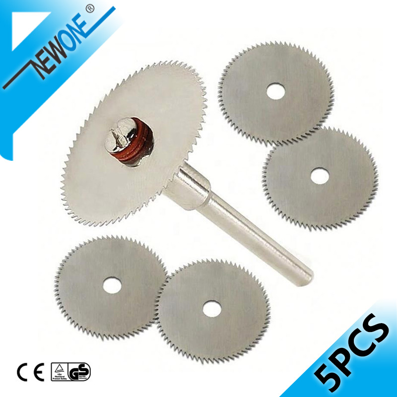 5pcs 22mm Stainless Steel  Mini Cricular Saw Blade Metal Wheel Cutting Disc With 3mm Fixed Rod Mandrel For Dremel Rotary Tools