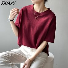 T-shirt female spring 2021 new Korean version loose casual slimming students round neck inner wear solid color shirt female