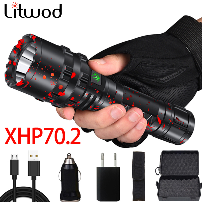 XHP70.2 Powerful LED Flashlight Torch Light Tactical 5 Mode Use Rechargeable 18650 26650 Battery Waterproof Hunting Camping Lamp