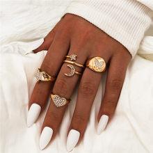 Wukalo bohemia anel conjunto de ouro cor cz pedra zircon lua estrela coração borboleta anel para a moda feminina jóias