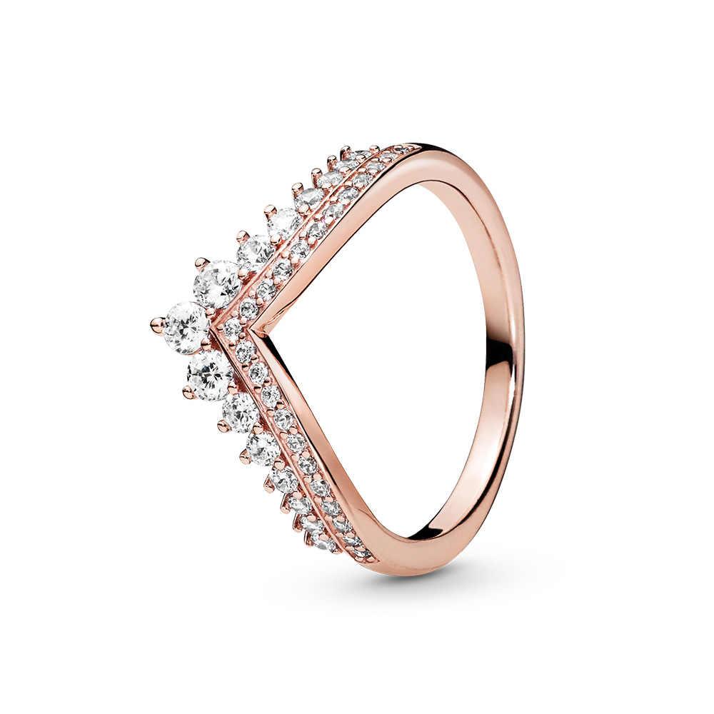 แหวนเงิน Pave ลายเซ็นโลโก้คลาสสิก Lotus ข้าวหูโบว์คริสตัลรอบเปิดแหวนนิ้วมือสำหรับผู้หญิงเครื่องประดับ