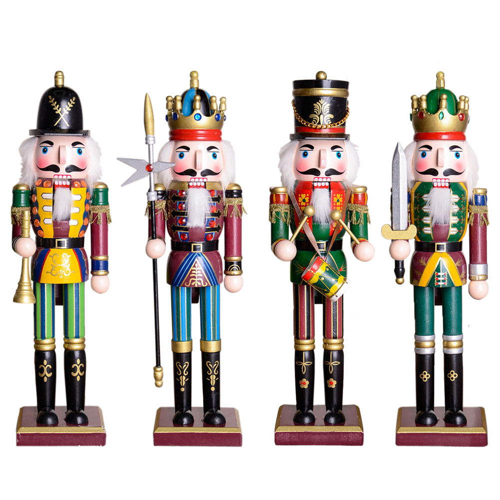 30cm Wooden Nutcracker Doll Soldier Figures Vintage Handcraft Puppet Christmas Gift Dolls Decorative Ornaments Home Decoration