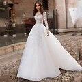 Платье для свадьбы LORIE  с длинным рукавом и кружевной аппликацией  2019
