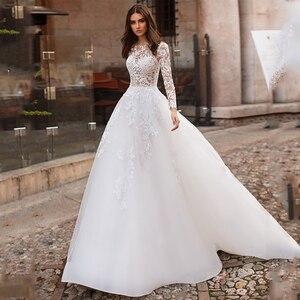 Image 1 - לורי חתונה שמלת 2019 ארוך שרוולי Vestidos דה novia אשליה תחרה Appliqued קו כלה שמלת כפתורים חזרה שמלות כלה