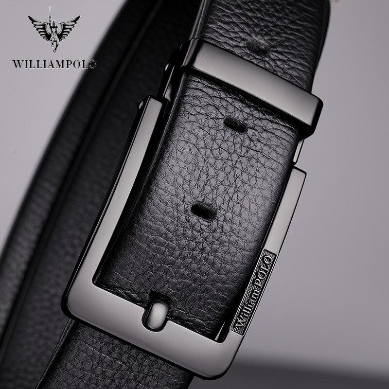 Image 4 - WilliamPolo brand design New casual business fashion Belt full grain leather Belt Silvery Belt Mens belt Pin Buckle Waist BeltMens Belts   -