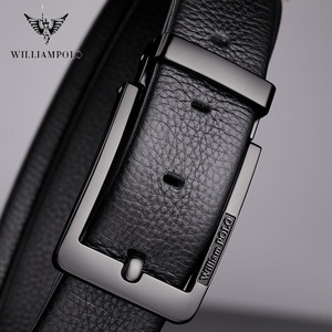 Image 4 - WilliamPolo brand design New casual business fashion Belt full grain leather Belt Silvery Belt Mens belt Pin Buckle Waist Belt