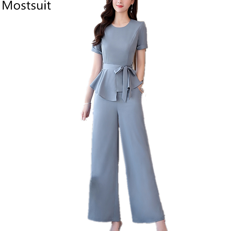 2020 Summer Office Fashion Two Piece Sets Women Short Sleeve Belted Tops + Wide Leg Pants Solid Female 2 Piece Sets Outfits