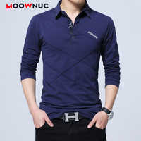 Polos Mens Long sleeves Shirt Fashion Polo Cotton Shirts Hombre Men's Clothing Masculino Business Casual Solid Brand 5XL MOOWNUC