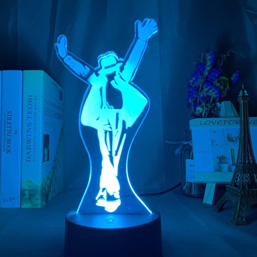 Michael Jackson Dancing Figure Led Night Light 3d Illusion Color Changing Nightlight for Home Decoration Bedside Table Lamp Gift