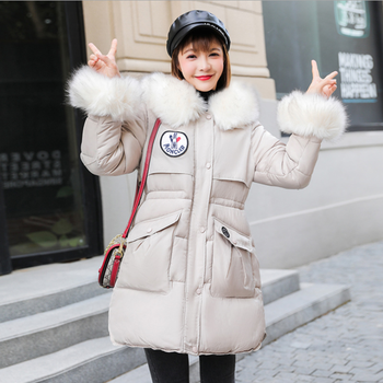 Ins winter Korean version women's wear jacket new style medium length thick overcoat wool collar student cotton padded clothes