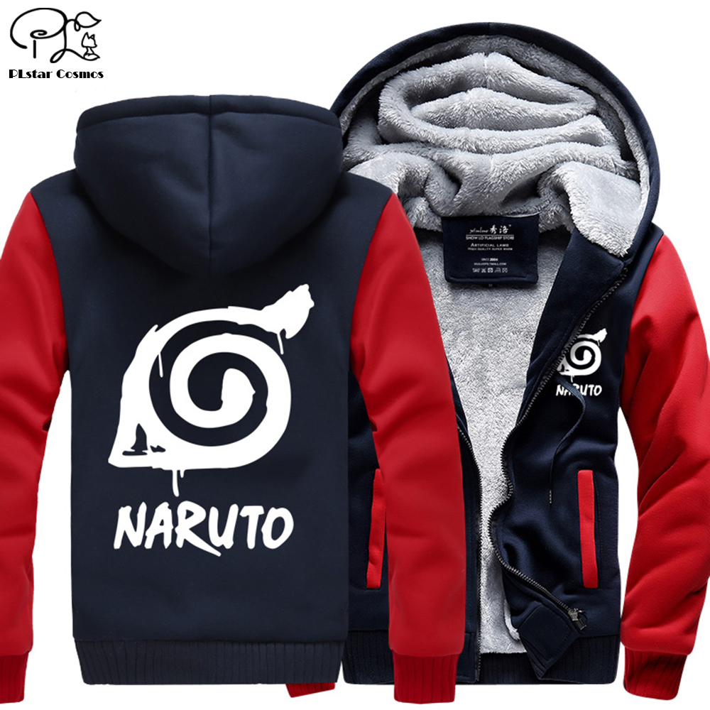 Men Naruto Print Velvet thick pullovers 3D Winter autumn anime Hoodies women harajuku Goku zipper Jacket long sleeve sweatshirts in Hoodies amp Sweatshirts from Men 39 s Clothing
