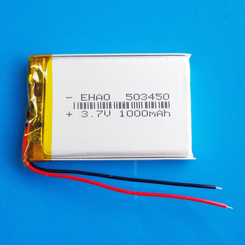 EHAO 503450 3.7V Polymer Lithium Lipo Rechargeable Battery 1000 mAh for Smart Phone DVD Led Lamp camera image
